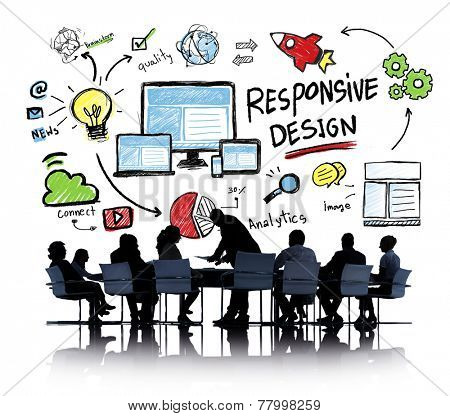 Responsive Design Internet Web Online Business Meeting Concept