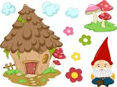 foto of gnome  - Illustration of Different Items Commonly Associated With Gnomes - JPG