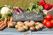 picture of farmers market vegetables  - Fresh New Year against vegetables at farmers market - JPG