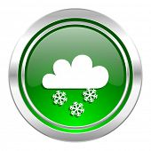 snowing icon, green button, waether forecast sign  poster