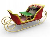 stock photo of santa sleigh  - 3D render of Santas sleigh with a sack of gifts - JPG
