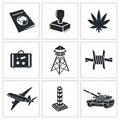 stock photo of smuggling  - Border crossing Icons collection on white background - JPG