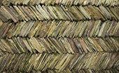 stock photo of slit  - Colorful Multi colored slit like tile creates a wall - JPG