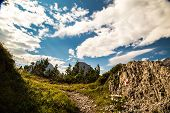 image of italian alps  - a sign on a rock in the italian alps - JPG