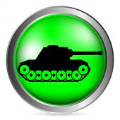 foto of panzer  - Panzer green button isolated on white background - JPG