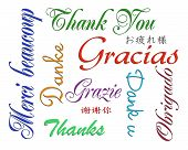 foto of thank you note  - Illustration composition of the words Thank you written in many languages for thank you note on white background - JPG