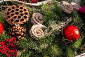 image of fir  - christmas background with toys - JPG