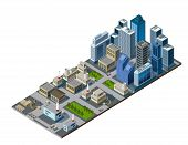 stock photo of isometric  - vector color illustration of isometric city map - JPG