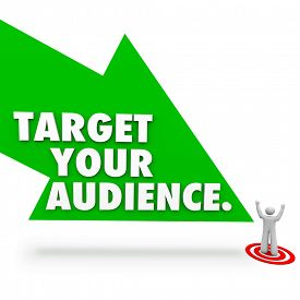 pic of clientele  - Target Your Audience words on a green arrow pointing to a customer - JPG