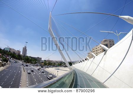 String Bridge At The Entrance To Jerusalem