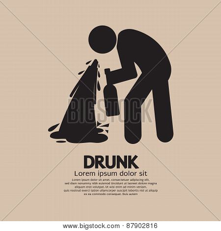 Drunk Person Graphic Symbol.