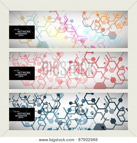 Set abstract modern pattern of hexagons circuits