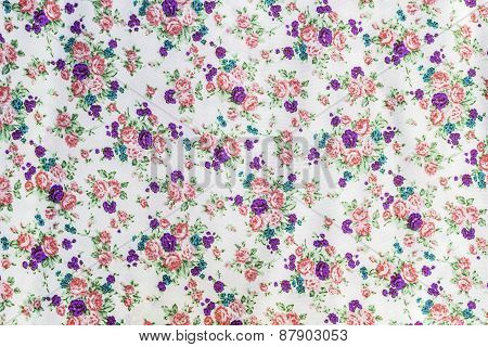 Flowers And Leaf On Fabric Pattern