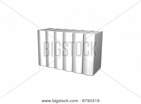 Line Of White Books Over White Background
