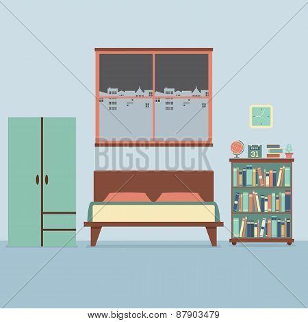 Flat Design Bedroom Interior.