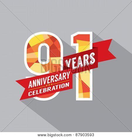 91St Years Anniversary Celebration Design.