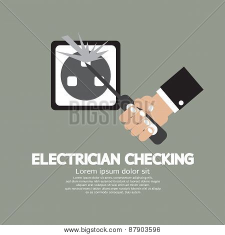 Flat Design Electrician Checking.