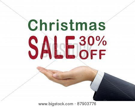 Christmas Sale 30 Percent Off Holding By Businessman's Hand