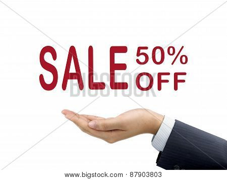 Sale 50 Percent Off Holding By Businessman's Hand