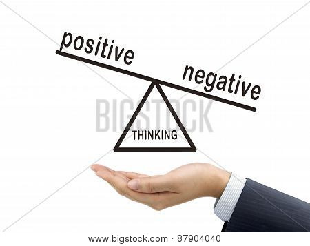 Thinking Negative Holding By Businessman's Hand