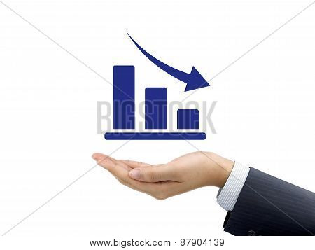 Decline Graph Holding By Businessman's Hand