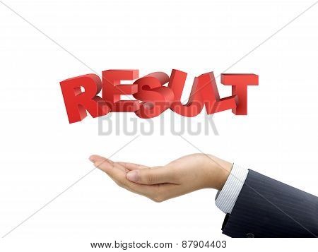 Businessman's Hand Holding Result Words