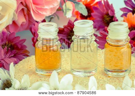 Bottles oils for and artificial flowersspa on vintage style