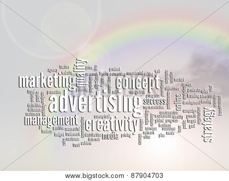 Concept or conceptual abstract business advertising and marketing word cloud or wordcloud, rainbow sun background