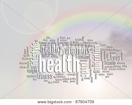 Concept or conceptual health abstract word cloud or wordcloud, rainbow sun background