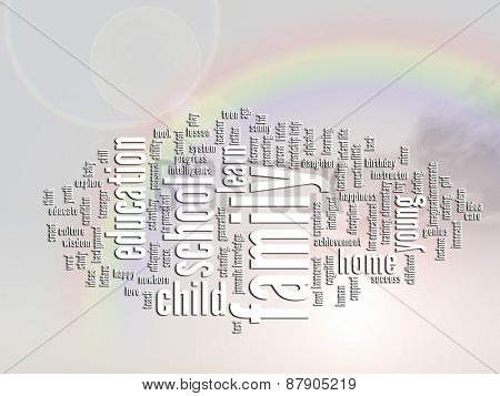 Concept or conceptual family education abstract word cloud or wordcloud, rainbow sun background