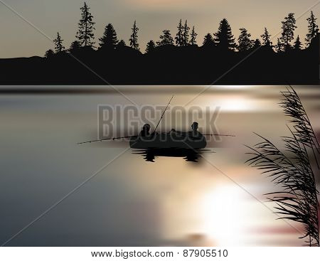 illustration with fishermen and boat silhouette in forest lake