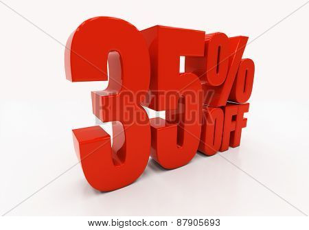 35 percent off. Discount 35. 3D illustration
