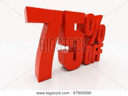 75 percent off. Discount 75. 3D illustration