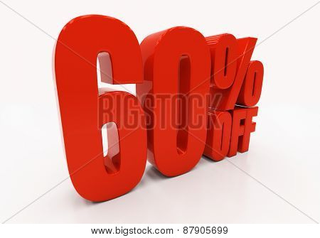60 percent off. Discount 60. 3D illustration