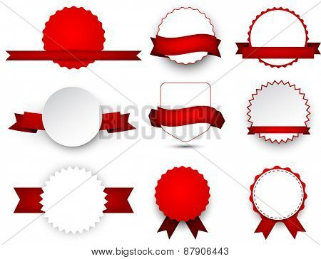 Set of red ribbons and award badges. Vector illustration.