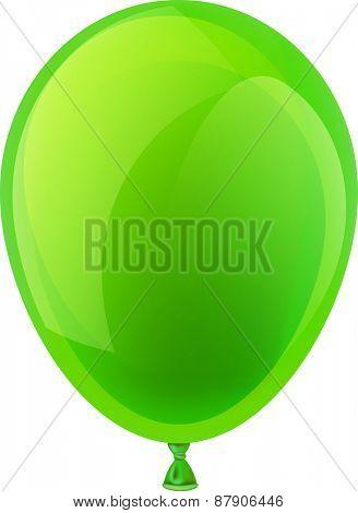 Green realistic celebration balloon. Vector illustration.
