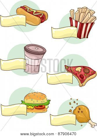 Illustration of Different Food Commonly Seen in a Fast Food Restaurant