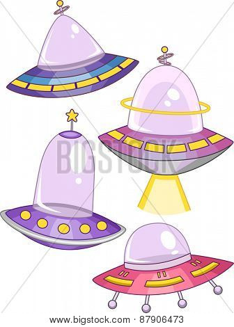 Illustration of Spaceships with Different Colors and Shapes