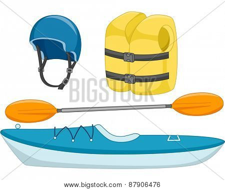 Illustration of Different Objects Used in Kayaking