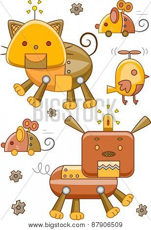 Illustration of Robotic Animals with a Steampunk Design