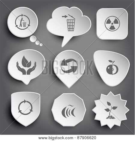 recycling bin, radiation symbol, life in hands, recycle symbol, apple, fish, sprout. White raster buttons on gray.