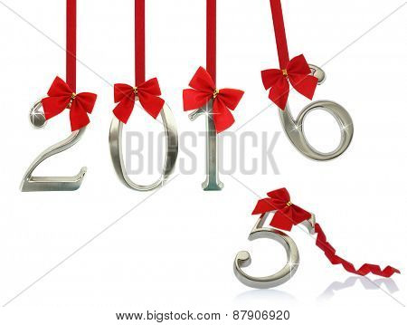 New year 2016 hanging on red ribbons