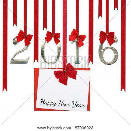 2016 number and Christmas greeting card hanging on red ribbons