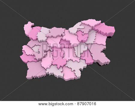 Three-dimensional map of Bulgaria. 3d