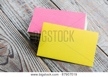 Colorful Business cards on wood table