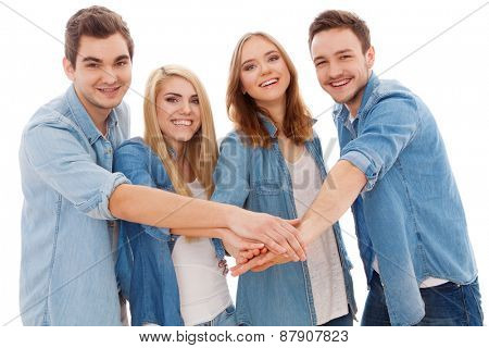 Group of happy young people, isolated on white background
