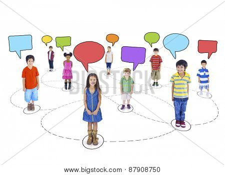 Children Child Childhood kid Speech Bubbles Togetherness Concept