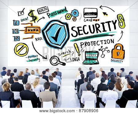 Ethnicity Business People Security Protection Conference Seminar Concept