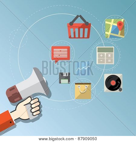 Digital marketing concept - Flat design stylish vector illustration megaphone with colorful application icons on online media