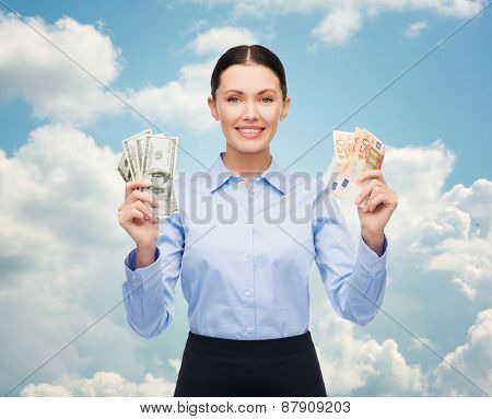 business and money concept - young businesswoman with dollar cash money over blue sky and clouds background